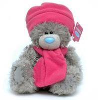 Мишка MTY 20 см. в розовых шапке и шарфе