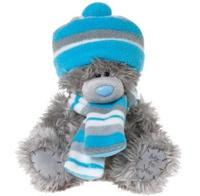 Мишка MTY 20 см. в шапке и шарфе в голубую полоску