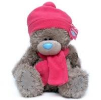 Мишка MTY 25 см. в розовых шапке и шарфе