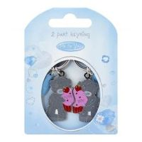 Брелок MTY для ключей двойной  - два мишки с розово-красным кексом Love