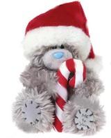 Мишка MTY 13 см. в шапке деда мороза